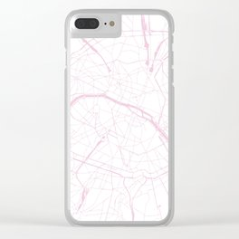 Paris France Minimal Street Map - Pretty Pink and White Clear iPhone Case
