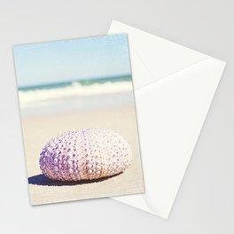 Sea Urchin Beach Photography, Seashell Blue Purple Art, Shell Coastal Ocean Photo Stationery Cards