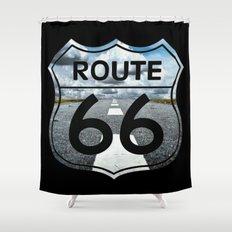 Route 66 Road Landscape Sign Shower Curtain