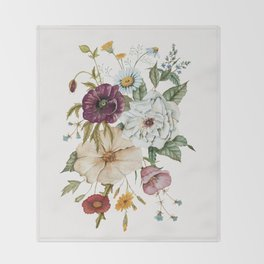 Colorful Wildflower Bouquet on White Throw Blanket