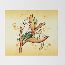 Yellow Heliconia and Cat Twins Throw Blanket