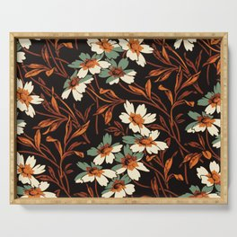 White gothic flowers Serving Tray