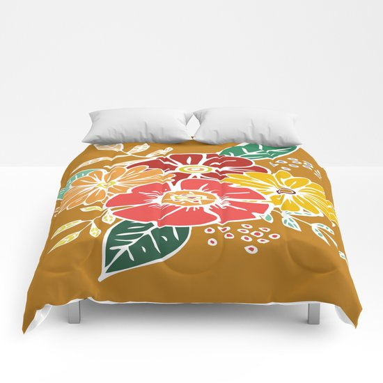 Abstract #369 Flower Power #9 Comforters