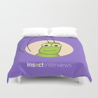 kevin russ Duvet Covers featuring Kevin the Katydid by Insect Interviews