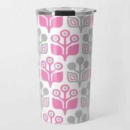 Mid Century Garden Flower Pattern Pink Grey Travel Mug