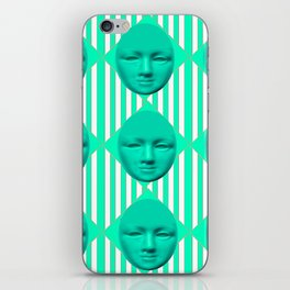 CONTEMPORARY TURQUOISE MOON FACE & STRIPES ART iPhone Skin