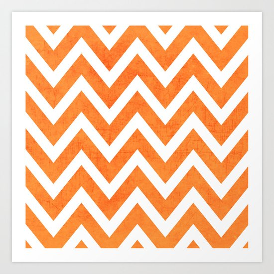 orange chevron Art Print