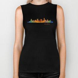 Austin Texas, City Skyline, watercolor  Cityscape Hq v1 Biker Tank