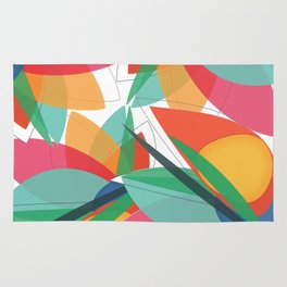 Abstract multicolored tropical flower, bird of paradise, superimposed shapes and transparencies Rug