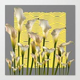 Grey & Yellow Pattern Calla Lilies Art Canvas Print