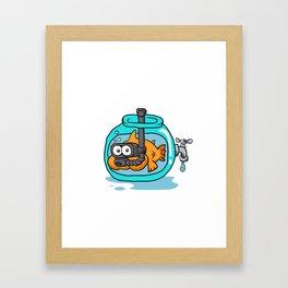 fish with snorkel in the aquarium Framed Art Print