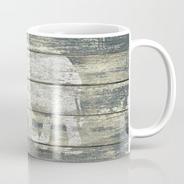 White Elephant Silhouette on Teal Wood A215C Coffee Mug
