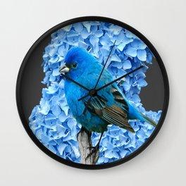 BLUE BIRD & BLUE HYDRANGEAS GREY ART Wall Clock