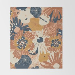 Autumn Fall Bloom Warm Orange Flowers Bold Cozy Floral Pattern Throw Blanket