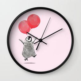 Flying Baby Penguin in Pink Wall Clock