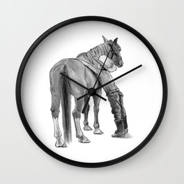 A Cowboy and His Horse, Pencil Drawing Wall Clock