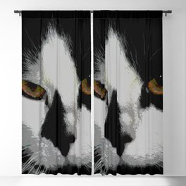 Black white cat II Blackout Curtain