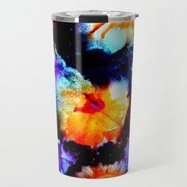 Colorful Abstract Flower Painting Orange Purple Black Travel Mug