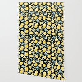 Lemon Pattern Black Wallpaper