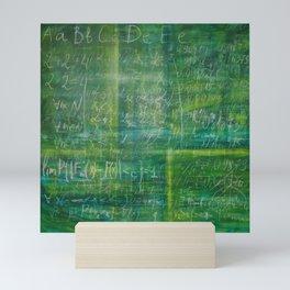 Old green schoolboard Mini Art Print