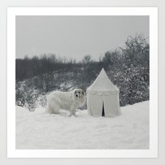 Great Pyrenees with Tent Art Print