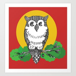 Happy go lucky owl Art Print