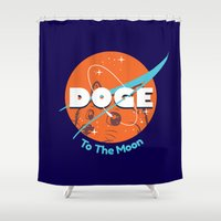 nasa Shower Curtains featuring Doge Nasa Variant (To The Moon!) by Tabner's