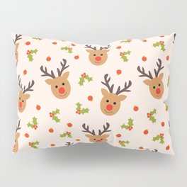 Christmas Reindeer, Holly and Ornaments Pillow Sham