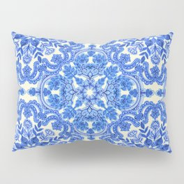 Cobalt Blue & China White Folk Art Pattern Pillow Sham