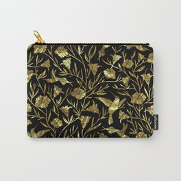 Black and gold foil humming birds & leafs pattern Carry-All Pouch