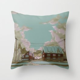 Old houses and silos Throw Pillow