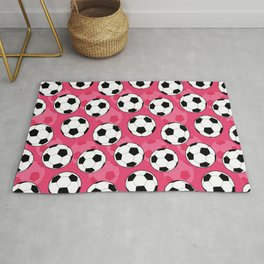 Soccer Ball Pattern with Pink Background Rug
