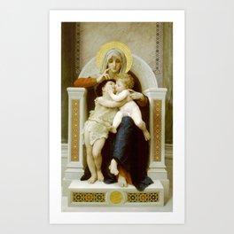 William-Adolphe Bouguereau - La Vierge, L'Enfant Jésus et Saint Jean-Baptiste Art Print