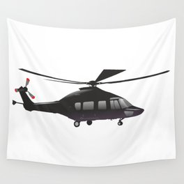 Black European Helicopter Wall Tapestry