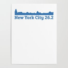 Run New York City Elevation Map 26.2 NYC Poster