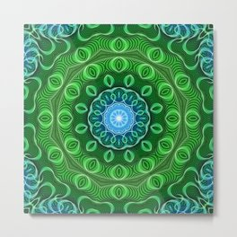 Cell Growth Mandala Metal Print