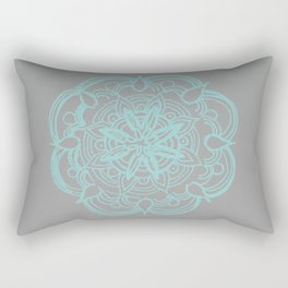 Mint Gray Romantic Flower Mandala #4 #drawing #decor #art #society6 Rectangular Pillow