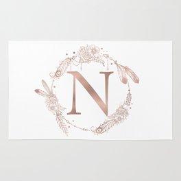 Letter N Rose Gold Pink Initial Monogram Rug