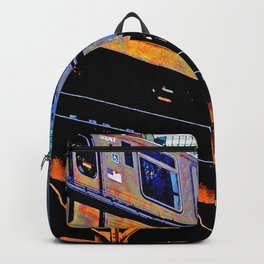 Chicago 'L' in multi color: Chicago photography - Chicago Elevated train Backpack