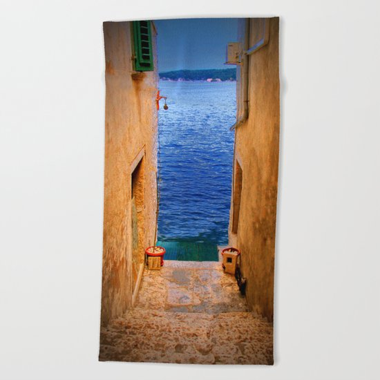 Stairs to the Sea Beach Towel