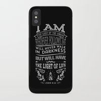 bible verses iPhone & iPod Cases featuring Typographic Motivational Bible Verses - John 8:12 by The Wooden Tree