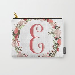 Personal monogram letter 'E' flower wreath Carry-All Pouch