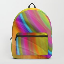 Hot volumetric semicircles with a crisp yellow accent and all the colors of the rainbow.  Backpack