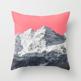 Snow mountain surreal landscape and a pink sky Throw Pillow