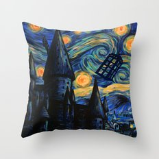 Tardis The Starry Night Throw Pillow