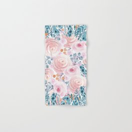 Blush pink blue coral watercolor hand painted floral Hand & Bath Towel