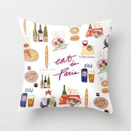 Paris Food Map Throw Pillow