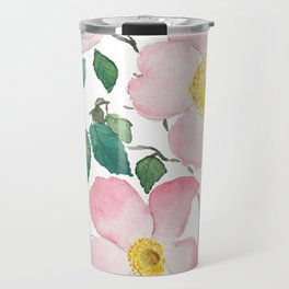 pink rosa rubiginosa watercolor Travel Mug