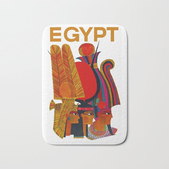 Vintage Egypt Headdress Travel Bath Mat