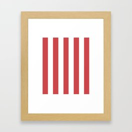 English vermillion pink - solid color - white vertical lines pattern Framed Art Print